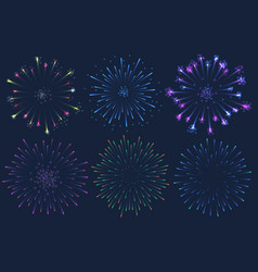 set of colorful firework on vector image
