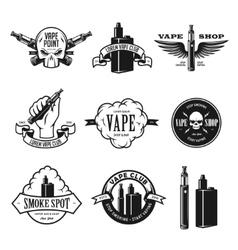 Set vape e-cigarette emblems labels prints vector