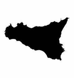 Sicily dark silhouette map vector
