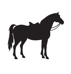 Silhouette horse with saddle and bridle vector