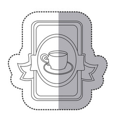 Silhouette symbol cup with plate icon vector