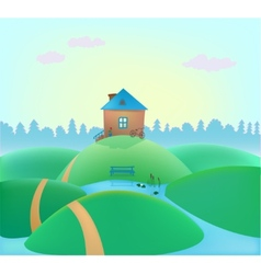Small cute house on hills vector