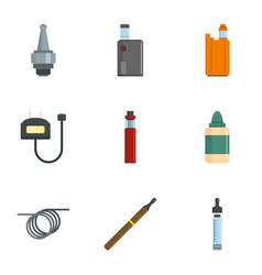 Smoke vaping icon set flat style vector