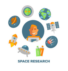 space research promo poster with spaceman and vector image vector image