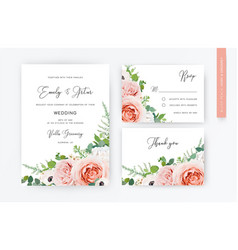 spring floral watercolor wedding invite card rsvp vector image
