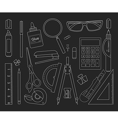 Stationery tools set black outlines vector image