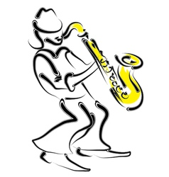 stylized saxophone and musician vector image