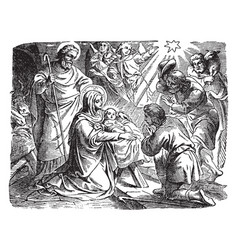 The adoration of the shepherds at the birth of vector