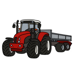 The red tractor with a trailer vector
