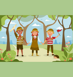 three happy young people hiking in woods vector image