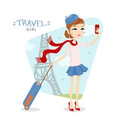 Travel girl in Paris vector image