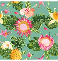Tropical Flowers Background vector