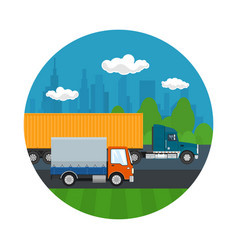 Truck and small covered truck drive on the road vector