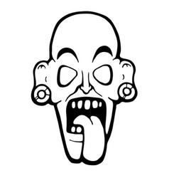 ugly zombie face vector image