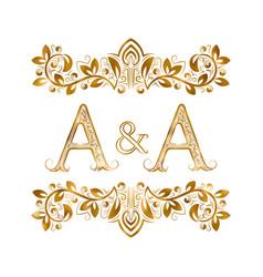 Vintage initials logo symbol letters a vector