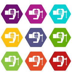 Vise tool icon set color hexahedron vector