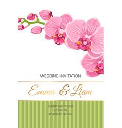 Wedding invitation card pink orchid phalaenopsis vector