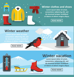 winter vacation banner horizonatal set flat style vector image