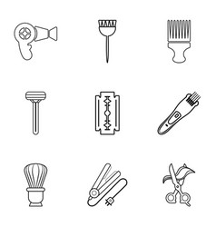 woman hairdresser tools icons set outline style vector image