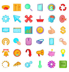 work letter icons set cartoon style vector image
