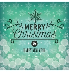 card greeting merry christmas with snowflake vector image