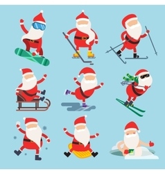Cartoon extreme Santa winter sport vector image