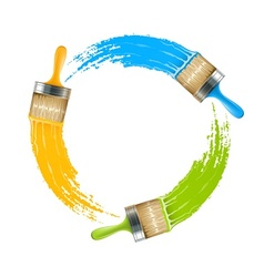 Circle of brushes with paint vector image vector image