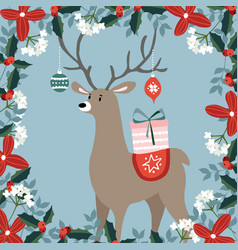 cute christmas greeting card invitation with hand vector image vector image
