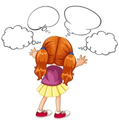 Girl with many thoughts bubbles vector image vector image