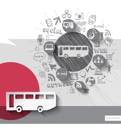 Hand drawn bus icons with icons background vector image vector image