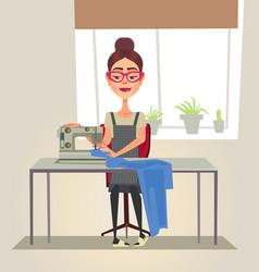 happy smiling designer seamstress woman character vector image vector image