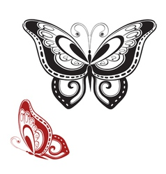Ornamented abstract silhouette butterfly vector image