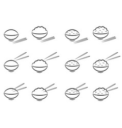 rice bowl symbol with chopsticks in line art vector image vector image