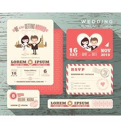Cute groom and bride couple wedding invitation set vector image