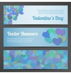 Valentines Day horizontal banners on pink vector image vector image