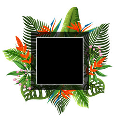 black frame with flowers and leaves in background vector image vector image