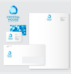 crystal house logo build blue identity vector image