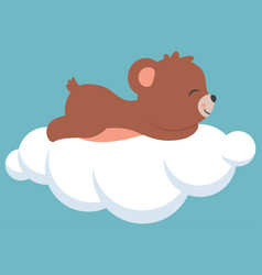 cute baby bear sleeping on a cloud baby shower vector image