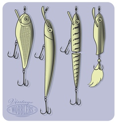 Fishing wobblers or artificial fishing lures vector image