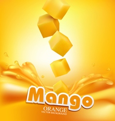 juicy mango slices falling into the fresh juice vector image