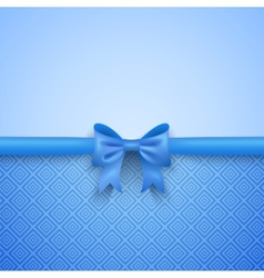 Romantic blue background with cute bow and pattern vector image vector image