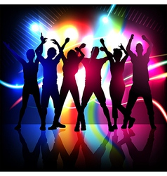 silhouettes of party people dancing vector image