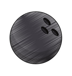 drawing bowling ball equipment vector image