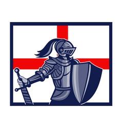 English Knight Holding Sword England Flag Retro vector image