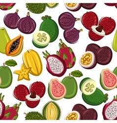 Exotic and tropical fruits seamless pattern vector