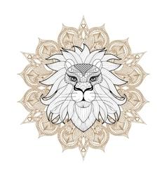 Hand drawn zentangle Ornamental Lion on mehendi vector image