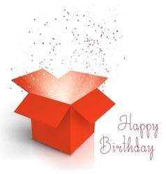 Happy Birthday Realistic Magic Open Box Magic Box vector image vector image