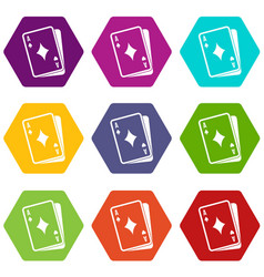 playing card icon set color hexahedron vector image
