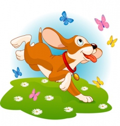 puppy and butterflies vector image vector image
