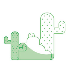 Silhouette cactus plan with trees and ecological vector